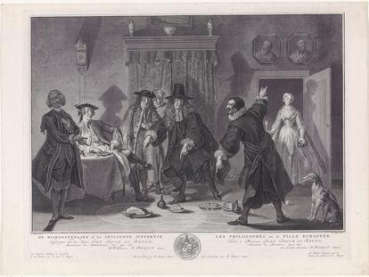 'Los Wiskonstenaars o la señorita fugitiva', grabado de cobre fabricado en la Holanda septentrional en 1741. Propiedad del marchante de arte N. Beets, actualmente en posesión del Estado.