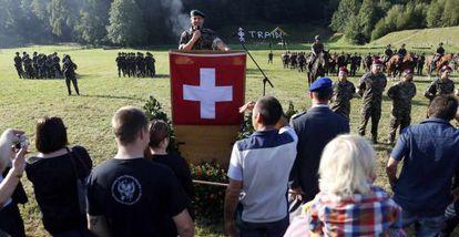 Día de las familias en una base militar suiza en Sand bei Schoehnbuehl.