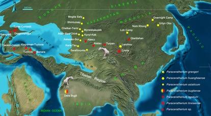 Distribución de los rinocerontes gigantes durante el Oligoceno.