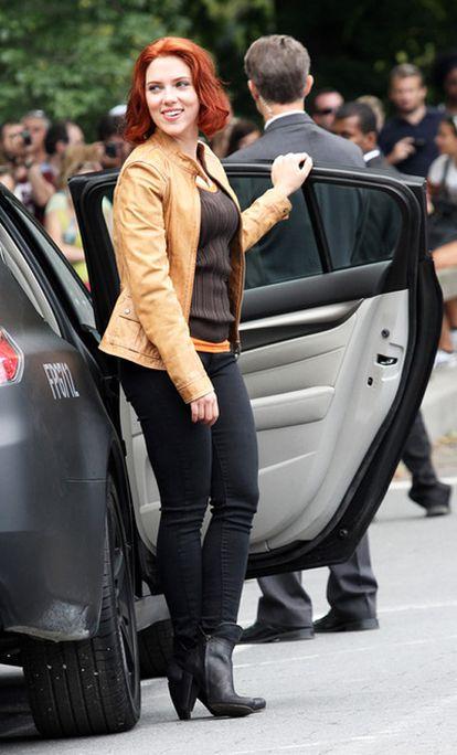 La actriz estadounidense Scarlett Johansson el pasado día 2 de septiembre en Nueva York, durante el rodaje de su última película, 'Los Vengadores'.