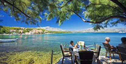 Restaurante en Lumbarda, en la isla de Korčula (Croacia).