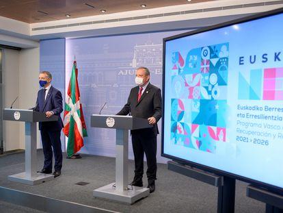 El lehendakari, Iñigo Urkullu y el consejero de Economía y Hacienda, Pedro Azpiazu, han presentado los proyectos que aspiran a ser financiados con los fondos de la UE.