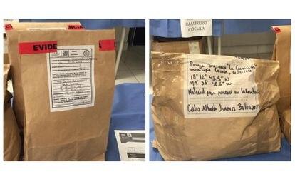 Bolsas con pruebas recogidas por la PGR como parte de las investigaciones del caso Ayotzinapa.