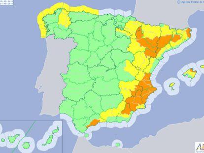 Previsión meteorológica para este viernes en España.