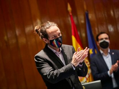 Pablo Iglesias en su traspaso de cartera como vicepresidente segundo y ministro de Derechos Sociales y Agenda 2030, el pasado 31 de marzo.