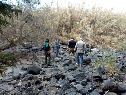 Personal de la Comisión Nacional de Búsqueda de Personas (CNBP) realiza labores de búsqueda, este miércoles en la población de Salvatierra, en el Estado de Guanajuato.