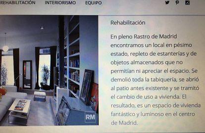 """Presentación del 'loft' de la calle Rodas en la web del estudio de Monasterio, donde lo define como vivienda y dice que """"se tramitó el cambio de uso"""". La semana pasada borró todos estos datos."""