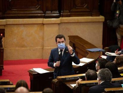 El presidente de la Generalitat, Pere Aragonès, en la sesión de control de este miércoles