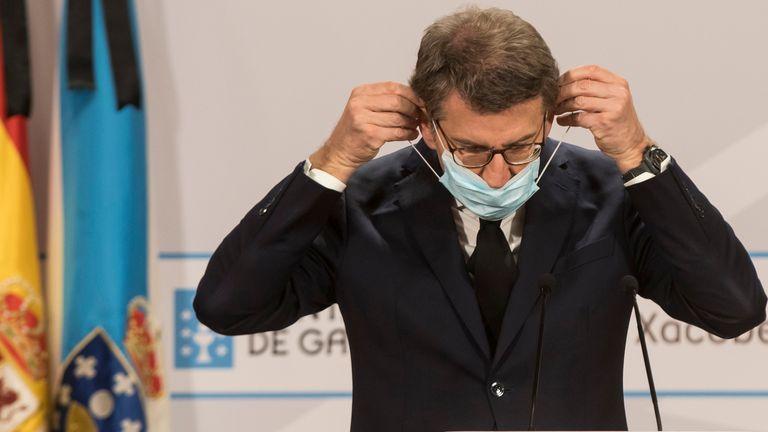 Alberto Núñez Feijóo, presidente de la Xunta, tras la videoconferencia del pasado domingo 24 con Pedro Sánchez.