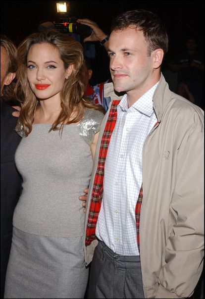 Actress Angelina Jolie and her ex-husband Jonny Lee Miller at the premiere of the movie 'Peace One Day' in 2005.