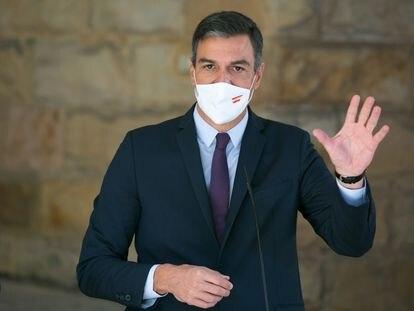 El presidente del Gobierno, Pedro Sánchez, en su visita a Gijón para presentar la nueva ley de Formación Profesional este jueves.