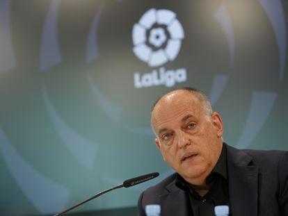 Javier Tebas, presidente de La Liga, en la rueda de prensa de este jueves.