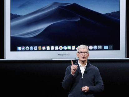 Tim Cook, en la presentación de este martes de los nuevos productos de Apple en Nueva York.