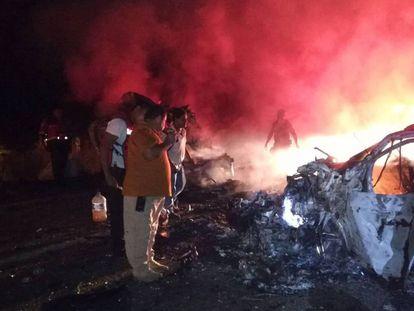 Estado en el que ha quedado uno de los coches implicados en el accidente.