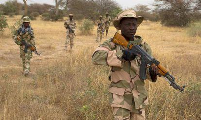 Soldados nigerianos, en una misión de entrenamiento en Niger.