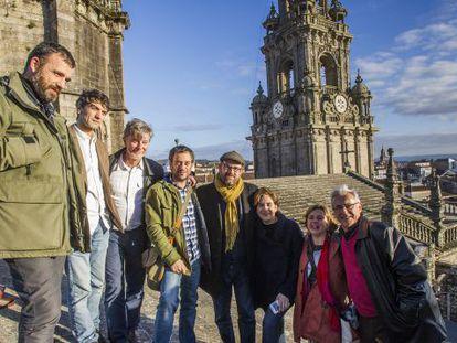 Alcaldes de candidaturas de confluencia de toda España, durante un encuentro en Santiago.