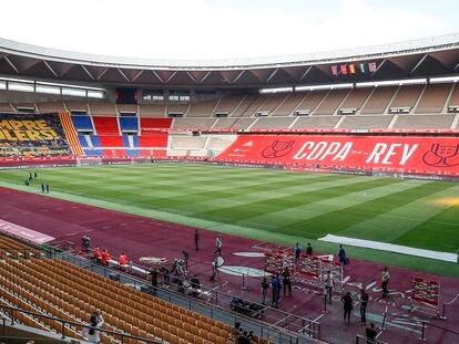 Entrenamientos oficiales previos a la final de la Copa del Rey en el Estadio de la Cartuja.