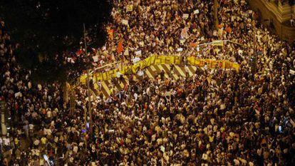 Imagen aérea de la protesta en Río.