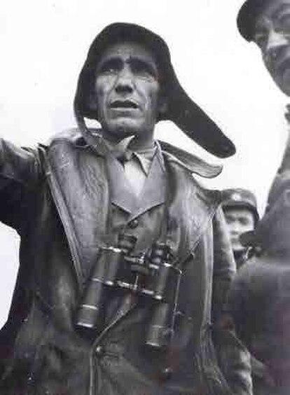 Cipriano Mera, durante la batalla de Guadalajara