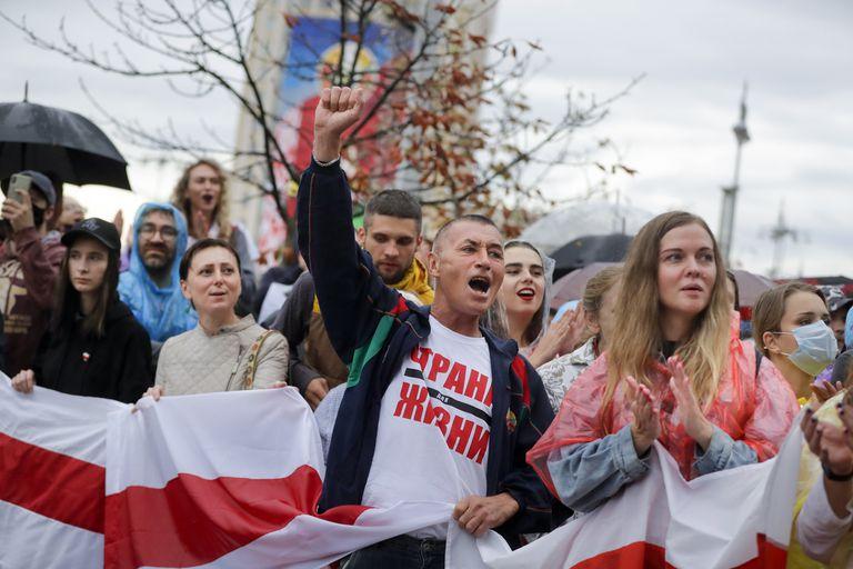 Protesta contra Lukashenko, este martes en Minsk.