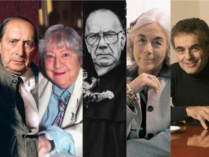 Miguel Delibes, Gloria Fuertes, Camilo José Cela, Carmen Martín Gaite y Terenci Moix.