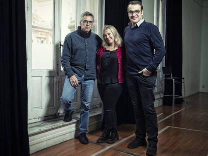 Jordi Galcerán, Tamzin Townsend y Luis Merlo, de 'El Método Grönholm' en el teatro Cofidis Alcázar de Madrid