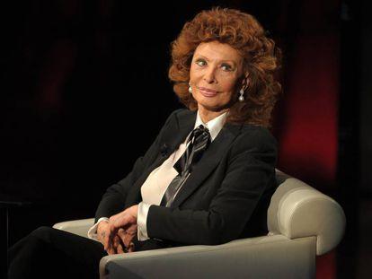 Sofía Loren durante un programa de televisión italiano, en 2014.