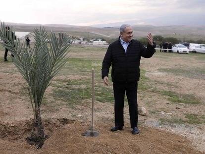 Netanyahu, en una colonia judía de Cisjordania en febrero.