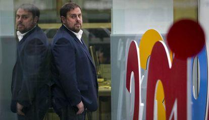 Oriol Junqueras, ayer, en la sede de Esquerra Republicana en Barcelona.