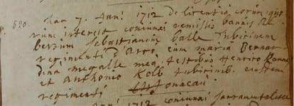 Certificado de matrimonio de Sebastian Ball y Bernhardina Mengal, de 7 de enero de 1712, en los registros eclesiásticos de Châtelet (Bélgica).  / MATAR MÁS TARDE