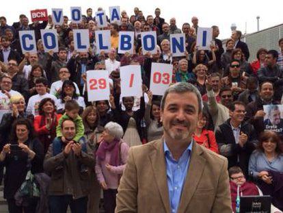 Jaume Collboni, en un momento del acto celebrado este sábado en el parc de l'Espanya Industrial.