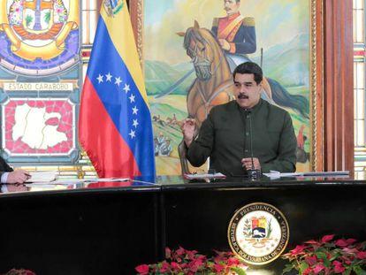 Nicolás Maduro y el vicepresienteTareck El Aissami este lunes en Caracas.