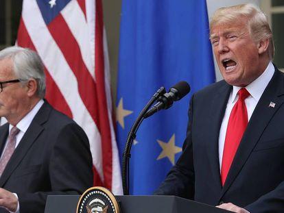 El expresidente de la CE,  Jean-Claude Juncker, y el presidente de EE UU, Donald Trump, en 2108.