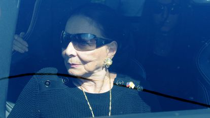 Beatriz Arrastia, durante el funeral de Miguel Boyer, en 2014.
