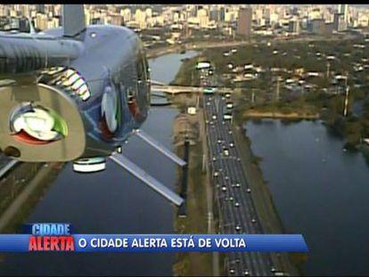 Uno de los helicóperos utilizados para la grabación de 'Cidade Alerta'