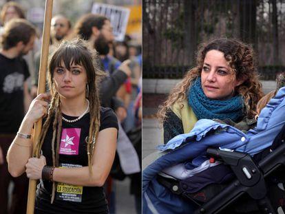 Mercedes Murillo, a la izquierda, en una manifestación de 2011. A la derecha, este viernes en el Retiro con su hijo.