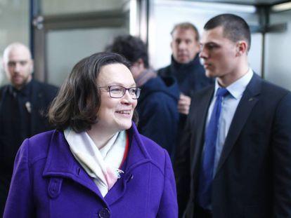 Andrea Nahles del SPD, este domingo tras conocer el resultado de las bases para la Gran Coalición.