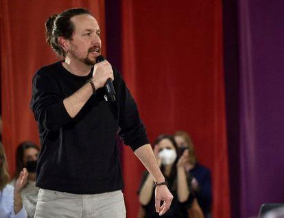 Pablo Iglesias, durante la presentación de la candidatura de Unidas Podemos Comunidad de Madrid.