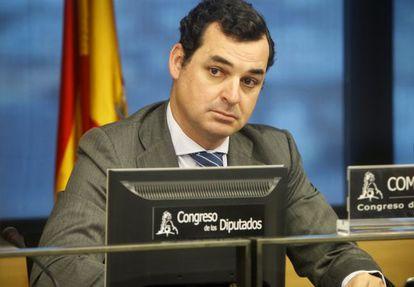 El presidente de RTVE Leopoldo González-Echenique durante la comisión.