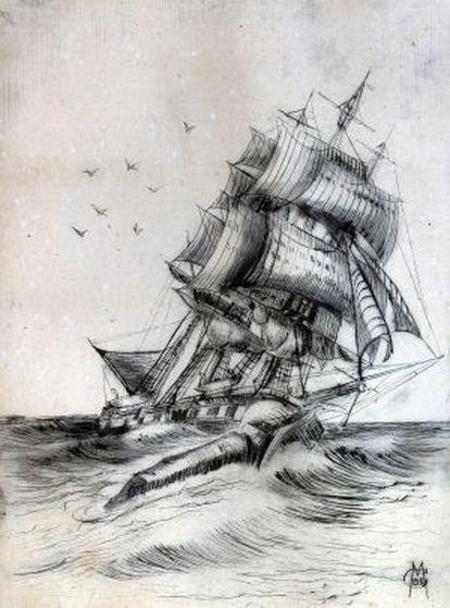 El barco 'Essex' que inspiró 'Moby Dick', hundido por una ballena el 20 de noviembre de 1820, dibujado por el marino y artista Clarence W. DeMontigny.