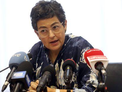 La ministra de Asuntos Exteriores, Arancha González Laya, en una rueda de prensa la semana pasada.
