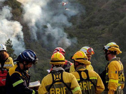 Servicios de emergencia en el incendio forestal en el municipio grancanario de Valleseco, el pasado sábado.