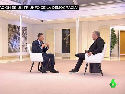El presidente del Gobierno, Pedro Sánchez, durante la entrevista con Antonio García Ferreras, el 25 de octubre de 2019.