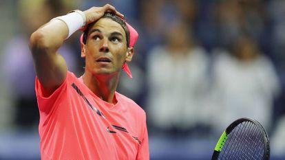 Rafael Nadal celebra su victoria ante Lajovic.