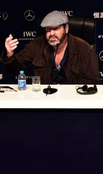 Eric Cantona, en la rueda de prensa de este martes.