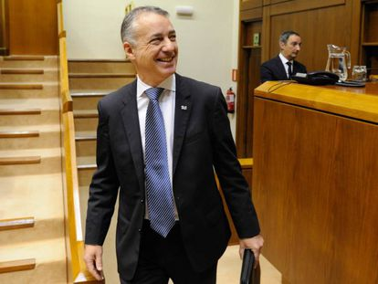 El lehendakari, Íñigo Urkullu entrando al Parlamento vasco, en Vitoria.