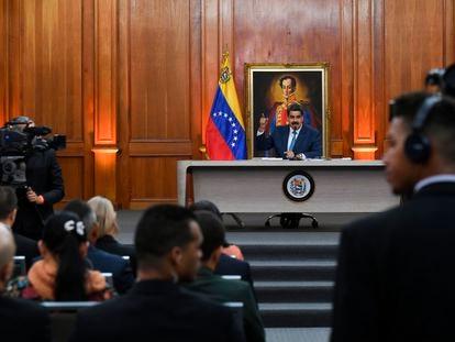 Nicolás Maduro, en una rueda de prensa en febrero.