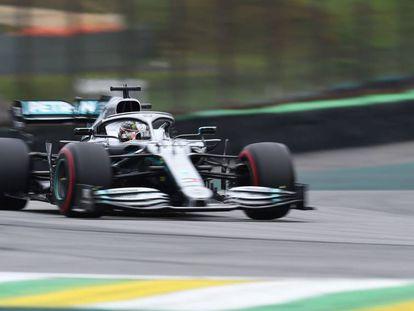 Lewis Hamilton, en Interlagos durante el Gran Premio de Brasil de F1 2019.