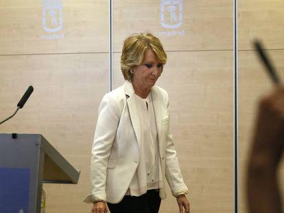Esperanza Aguirre, el día que anunció su dimisión como concejal del Ayuntamiento de Madrid.