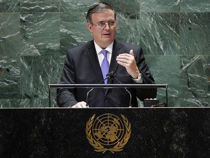 El canciller Marcelo Ebrard, este jueves durante su discurso en la Asamblea General de Naciones Unidas.